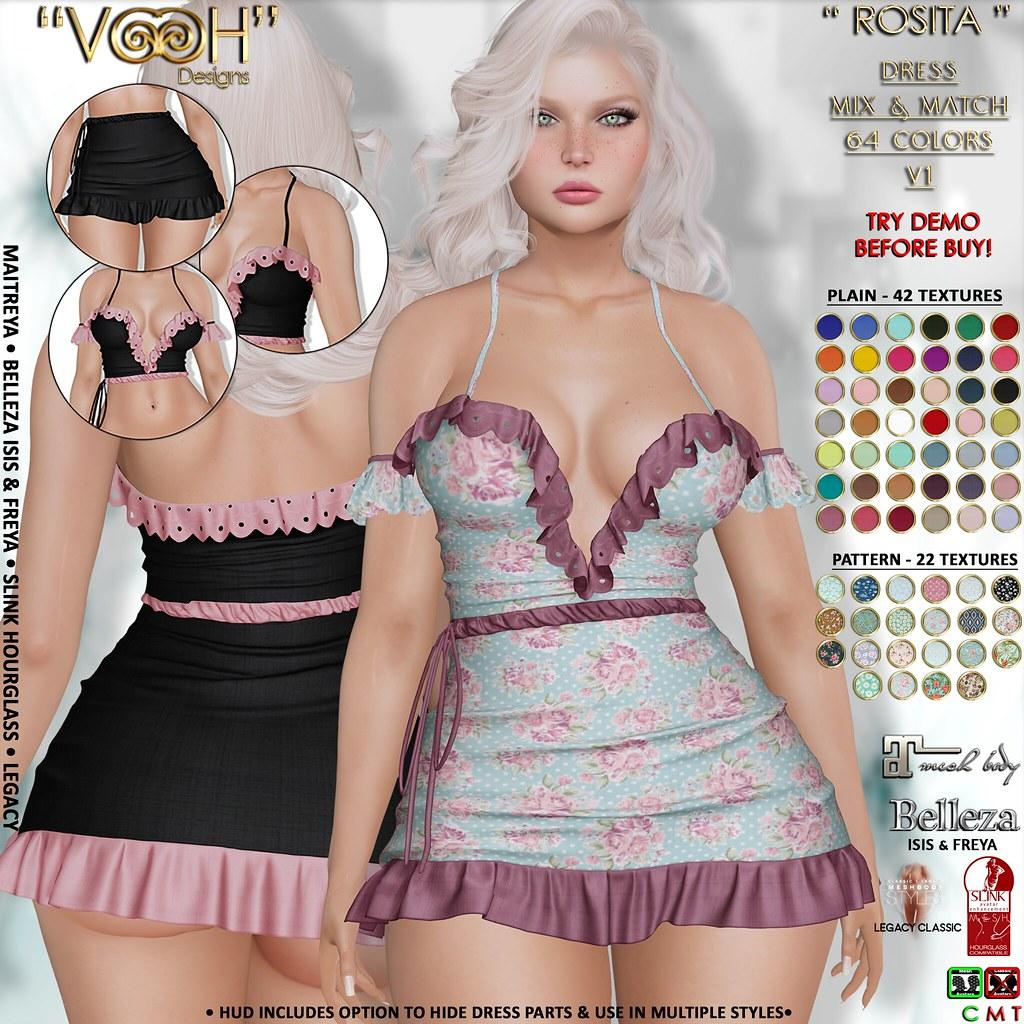 "PROMO! "" VOOH "" ROSITA DRESS V1 MIX & MATCH 64 COLORS {PLAINS & PATTERN}"
