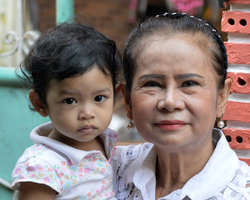 pretty grandmother and child