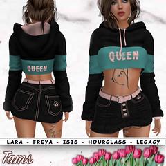 Short hoodie and Denim Skirt - Pink Queen