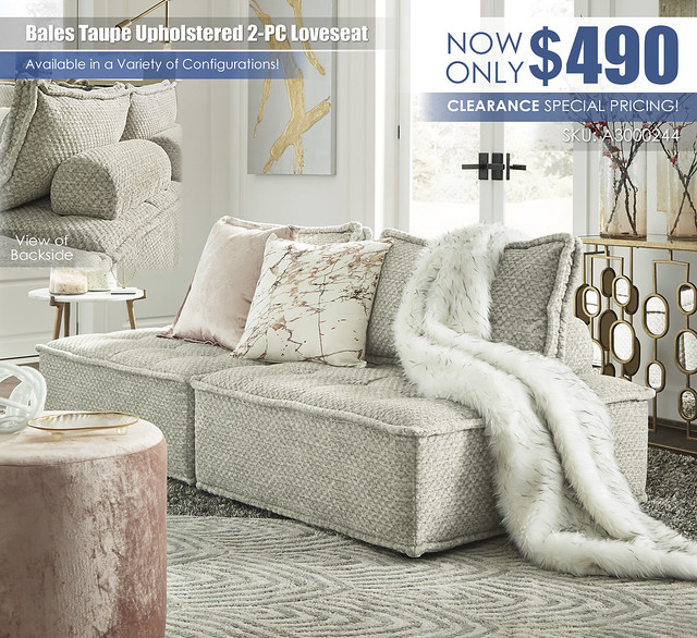 Bales Taupe Upholstered 2-PC Loveseat_A3000244-GLAM-V
