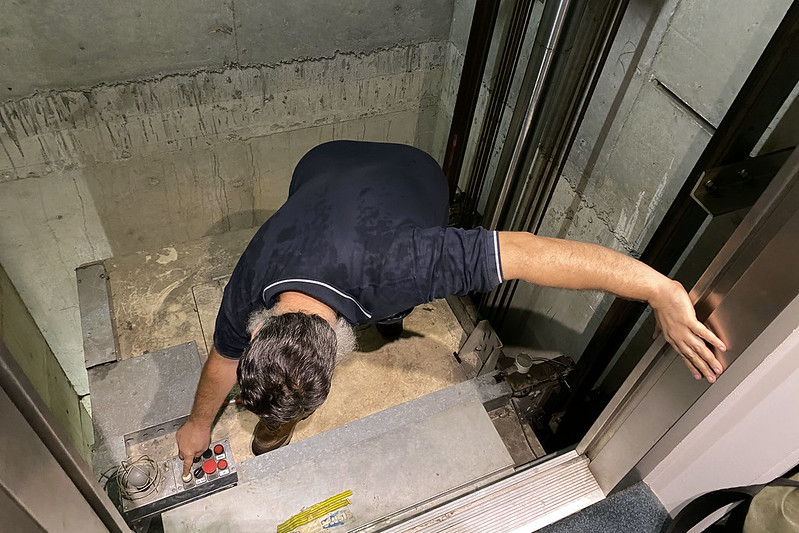 Rescuing someone stuck in the lift