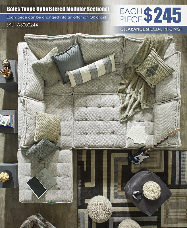 Bales Taupe Upholstered Modular Secitonal_A3000244-COLLEGE-TOP-VIEW