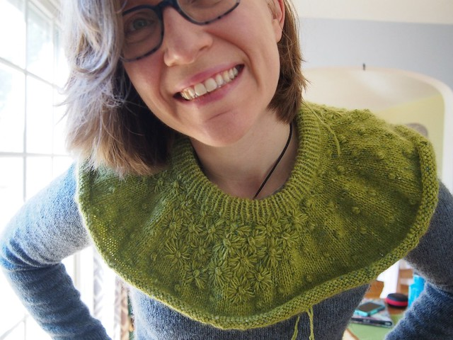 Embroidered yoke sweater in progress