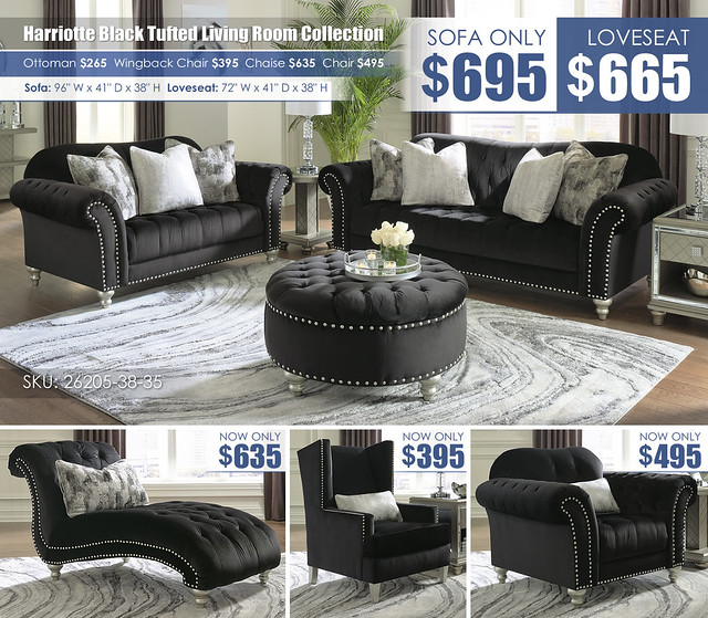 Harriotte Black Tufted Living Collection Layout_26205