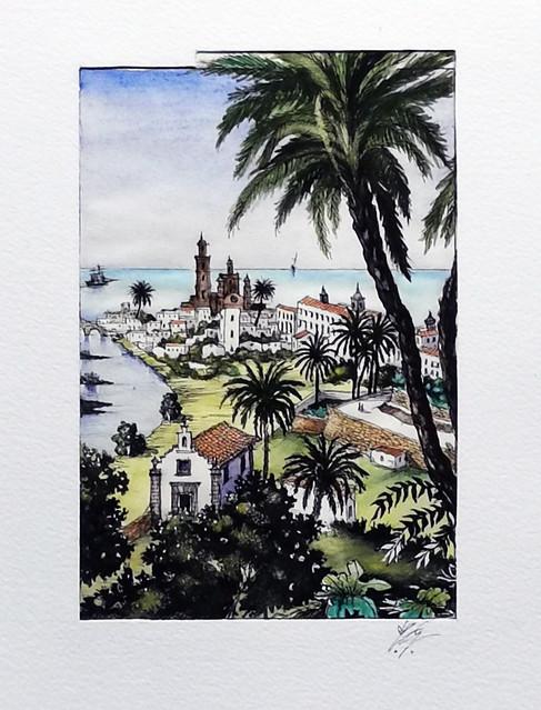 La Capital desde San Roque acuarela de José Blas Gutiérrez Olivares exposición Ámbito Cultural Corte Ingles Las Palmas de Gran Canaria