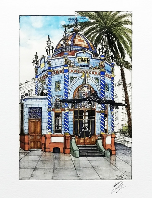 Kiosco San Telmo acuarela de José Blas Gutiérrez Olivares exposición Ámbito Cultural Corte Ingles Las Palmas de Gran Canaria