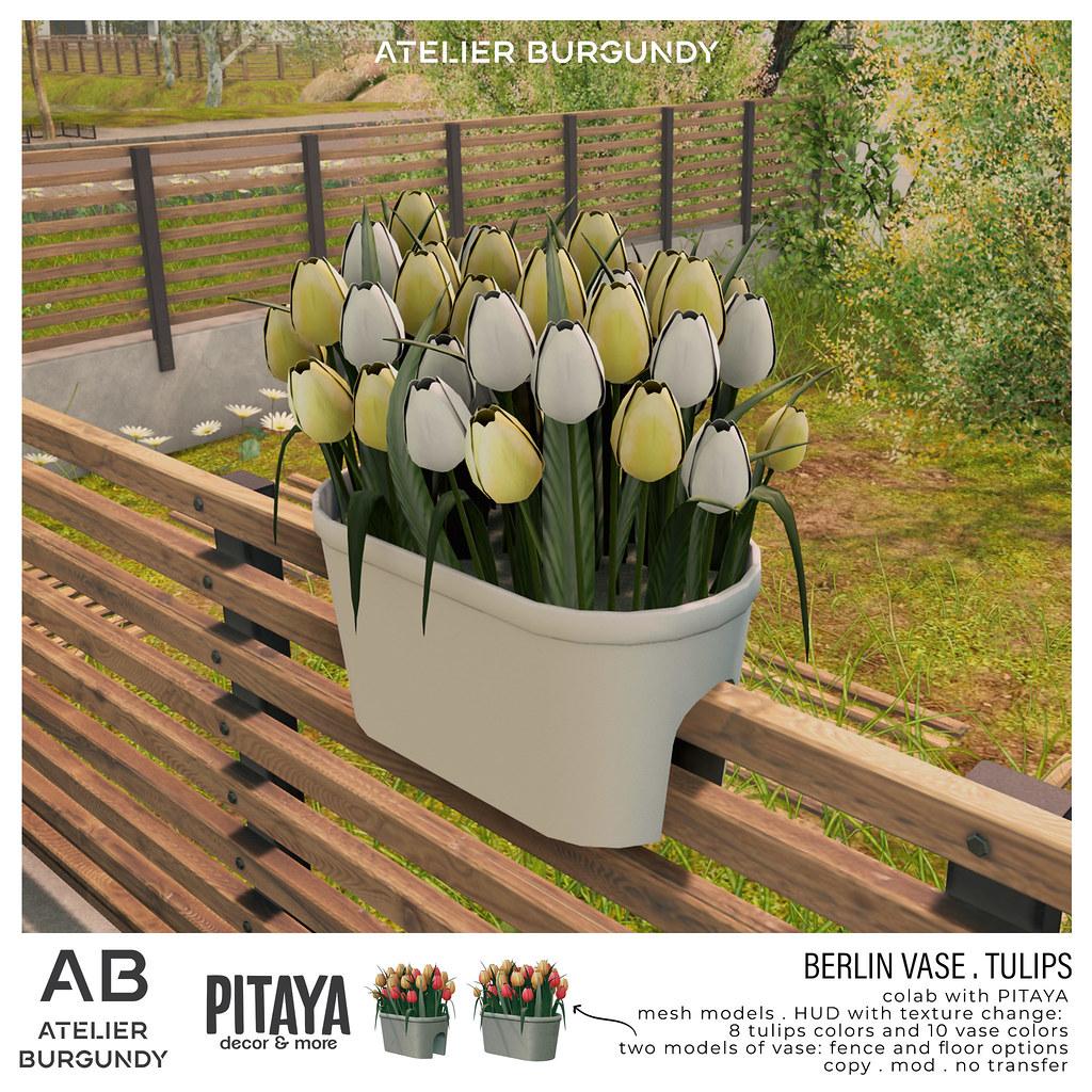 Atelier Burgundy + Pitaya . Berlin Vase Tulips