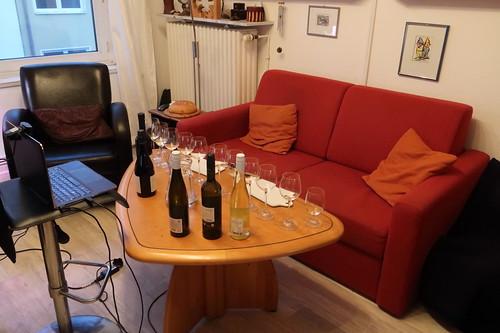 Alles vorbereitet für SlowFood Weinprobe per Videokonferenz