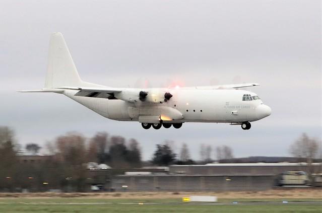 lynden air cargo l-100-30 hercules n402lc landing at shannon from bangor 20/3/21.