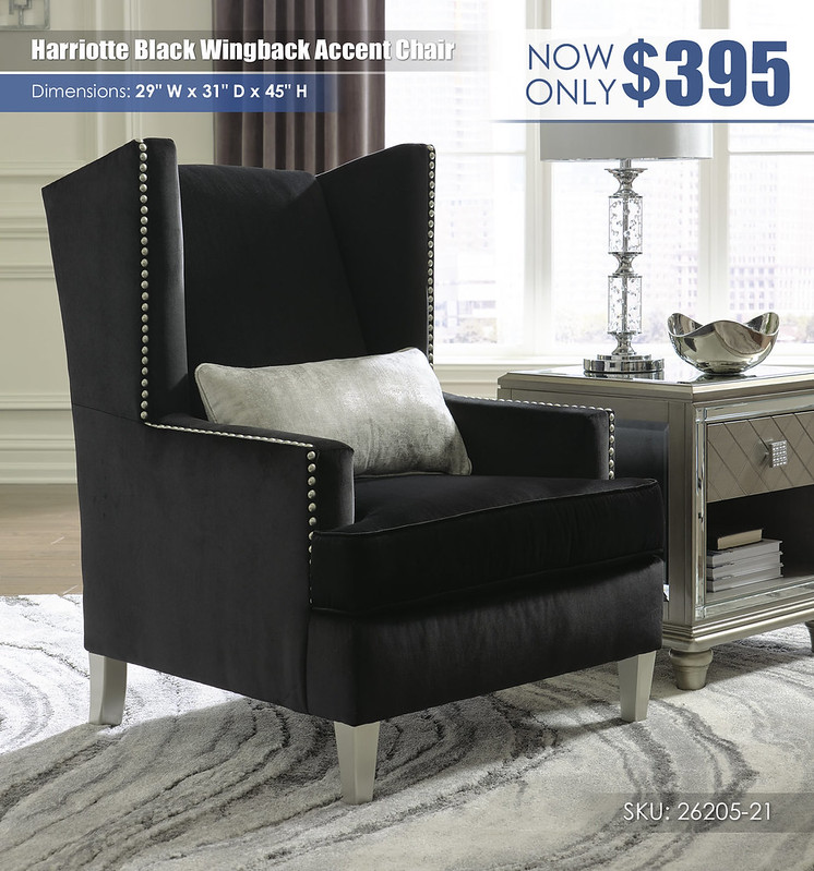 Harriotte Black Wingback Accent Chair_26205-21