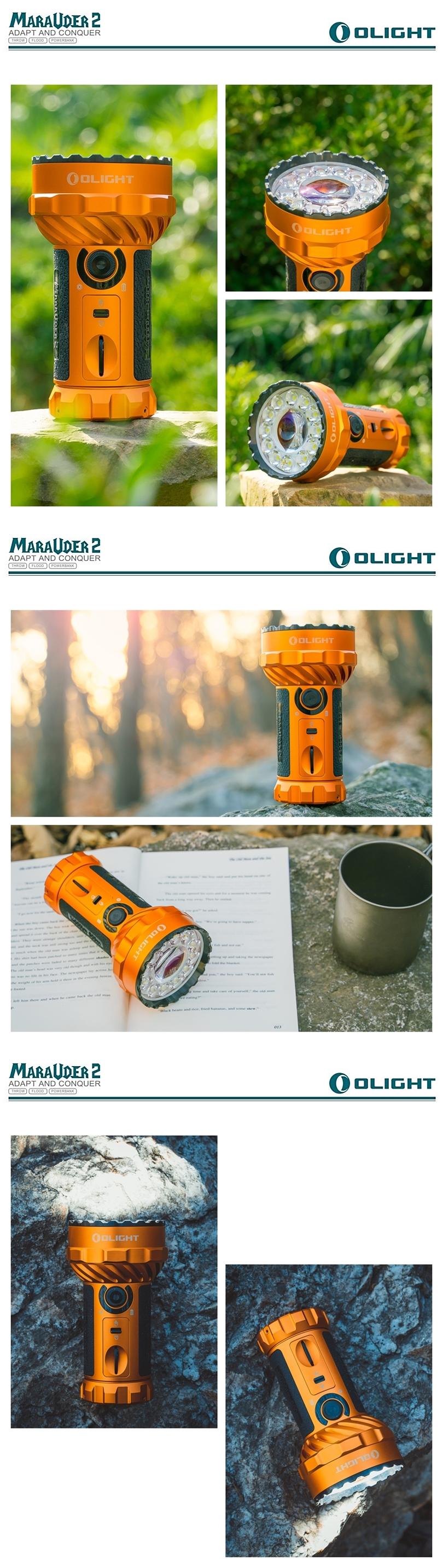 OLIGHT Marauder 2 橘 Orange 遠射搜索強光LED手電筒 遠近雙光 14000 流明 轉盤調光 USB-C充電 可當行動電源    (4)
