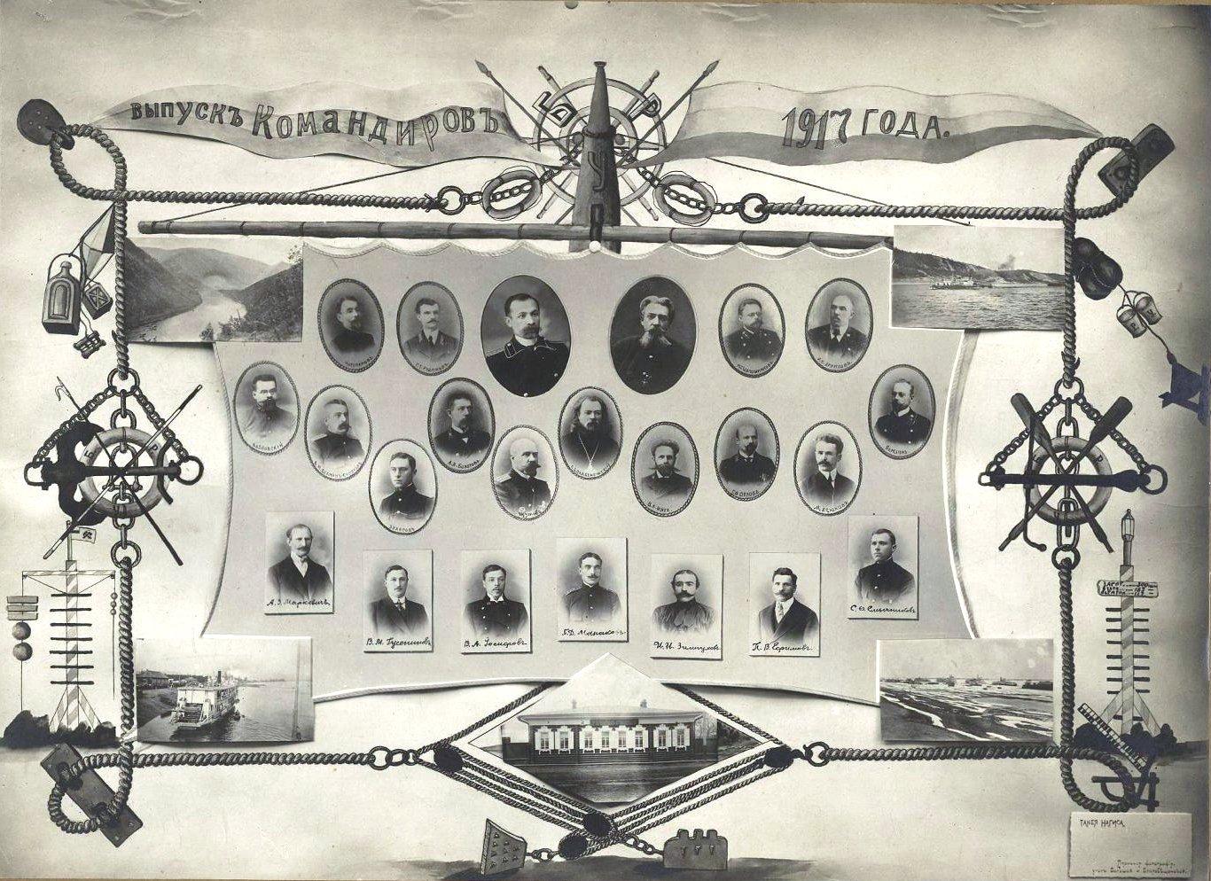 Выпуск командиров, окончивших Благовещенское речное училище в 1916 году