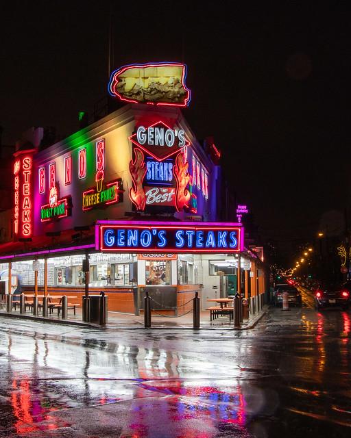 Geno's on a rainy night