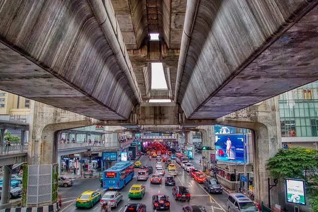 Traffic below the BTS Skytrain in Bangkok, Thailand