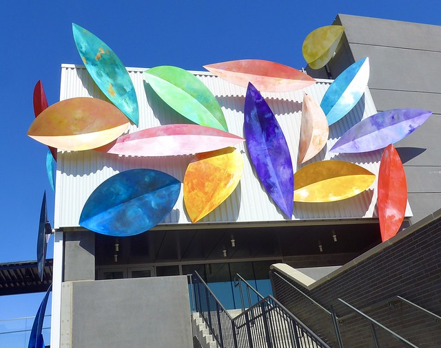 Sculptural decorations on outside walls of Inner Rail Food Hall, Omaha