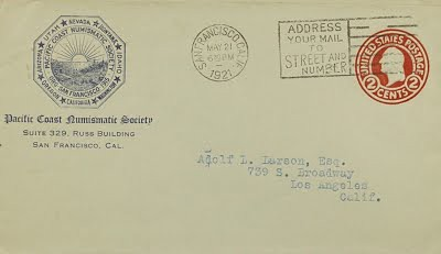 Pacific Coast Numismatic Society correspondence to Adolf Larson, Jr.