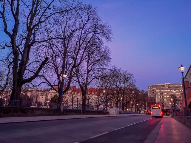 Early morning street scene before the sun rises