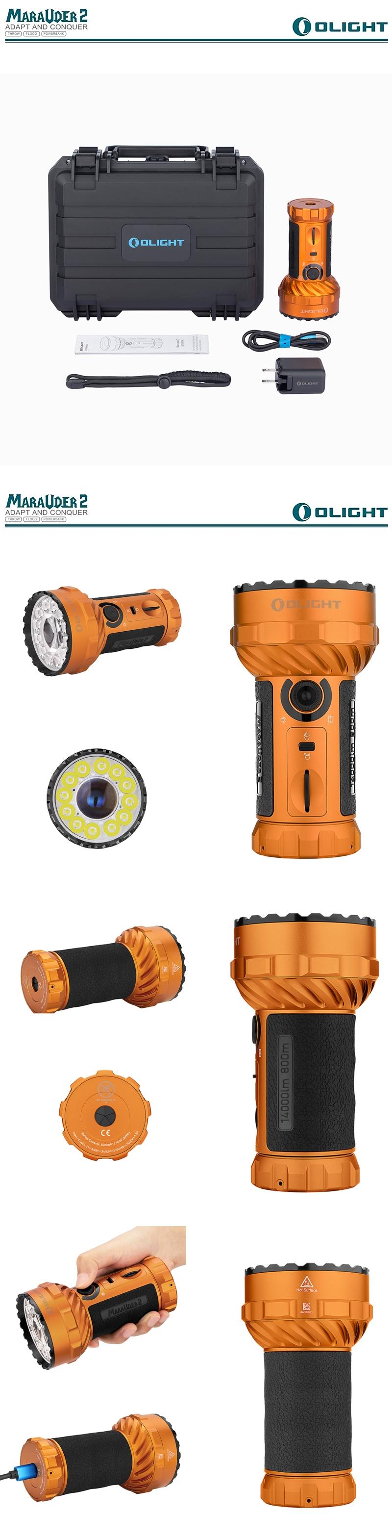 OLIGHT Marauder 2 橘 Orange 遠射搜索強光LED手電筒 遠近雙光 14000 流明 轉盤調光 USB-C充電 可當行動電源    (2)