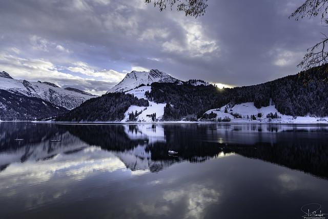 December at Wägitalersee with reflection - Innerthal - Schwyz - Switzerland