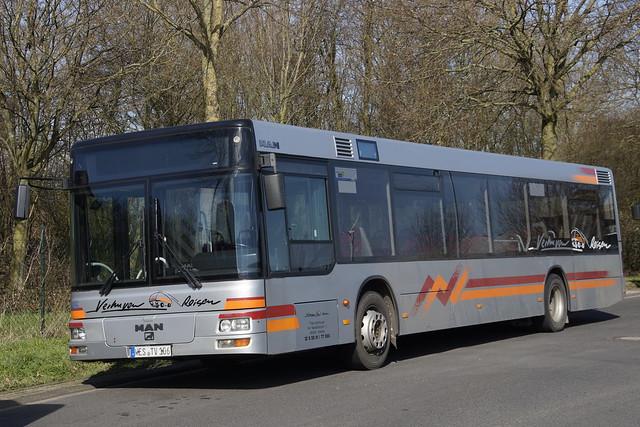 MAN NÜ 263 Verhuven Reisen GmbH met kenteken WES-TV 106 in Kleve 20-03-2021