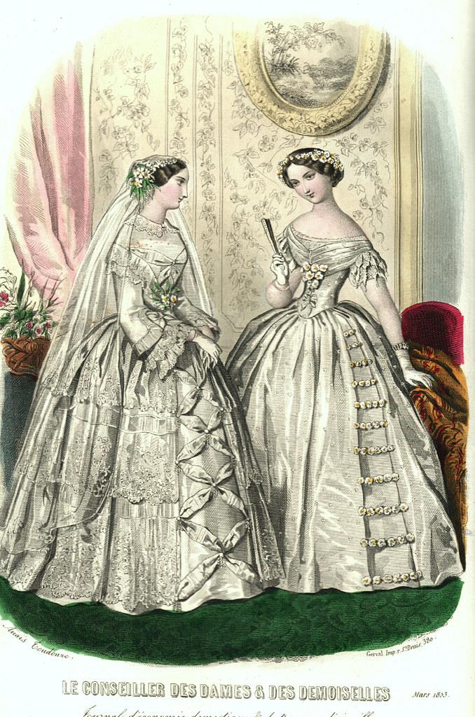 Gravure de mode, deux robes de mariée en 1853
