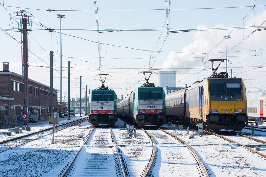 Sleeping locomotives on a cold day.