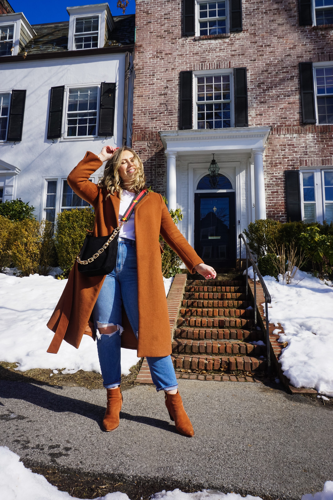 Ahdorned Bags | Winter Outfits Casual | Aesthetic Outfits | Gold Chain Bag | Rust Winter Coat | Ahdorned: The Handbag Company You Need to Know About