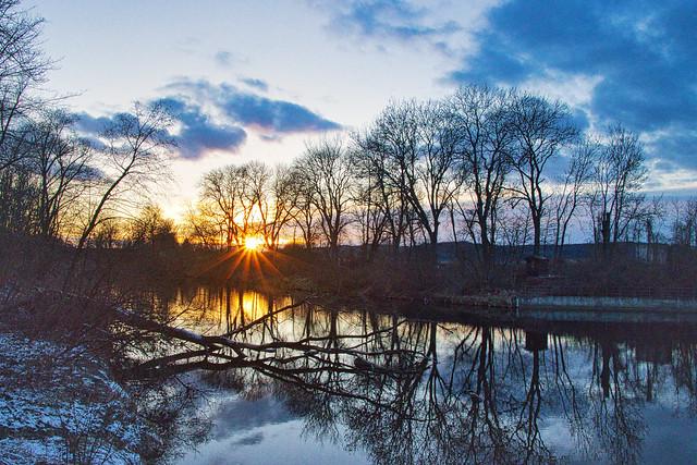 Sonnenuntergang an der Wertach -sunset a river Wertach