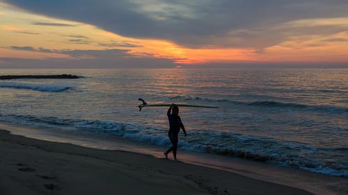 springlake jerseyshore newjersey beach sunrise surfer