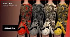 2faces - dragon tatoo (4 colors) - Bom