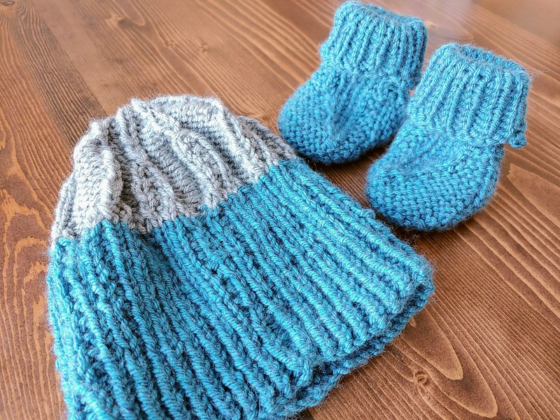 Knitted Blue/Gray Baby Hat + Booties