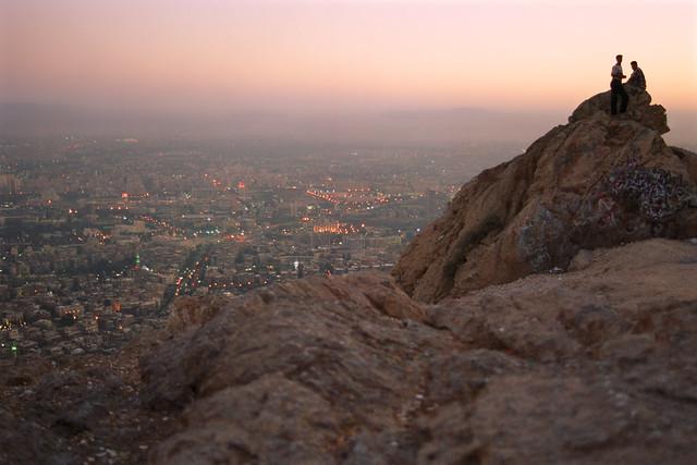 Twilight view of Damascus from Mount Qasioun