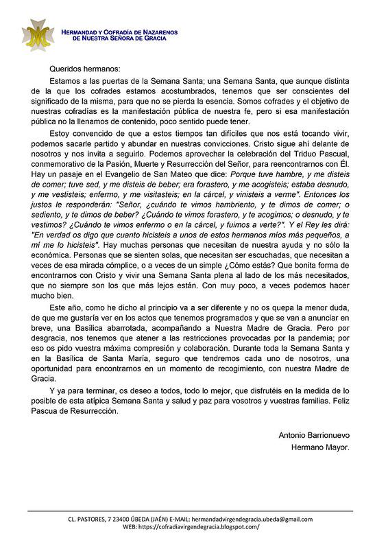 Carta del Hermano Mayor en Semana Santa