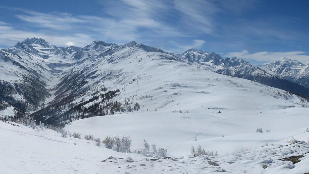 Fletschhorn, Mischabel and Weisshorn massifs, Swiss Alps