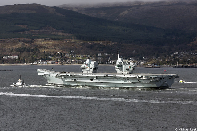 The Royal Navy flagship HMS Queen Elizabeth, R08; Firth of Clyde, Scotland