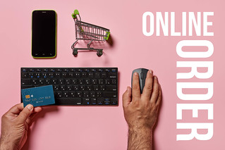 Online order - a person ordering grocery in online store | by wuestenigel