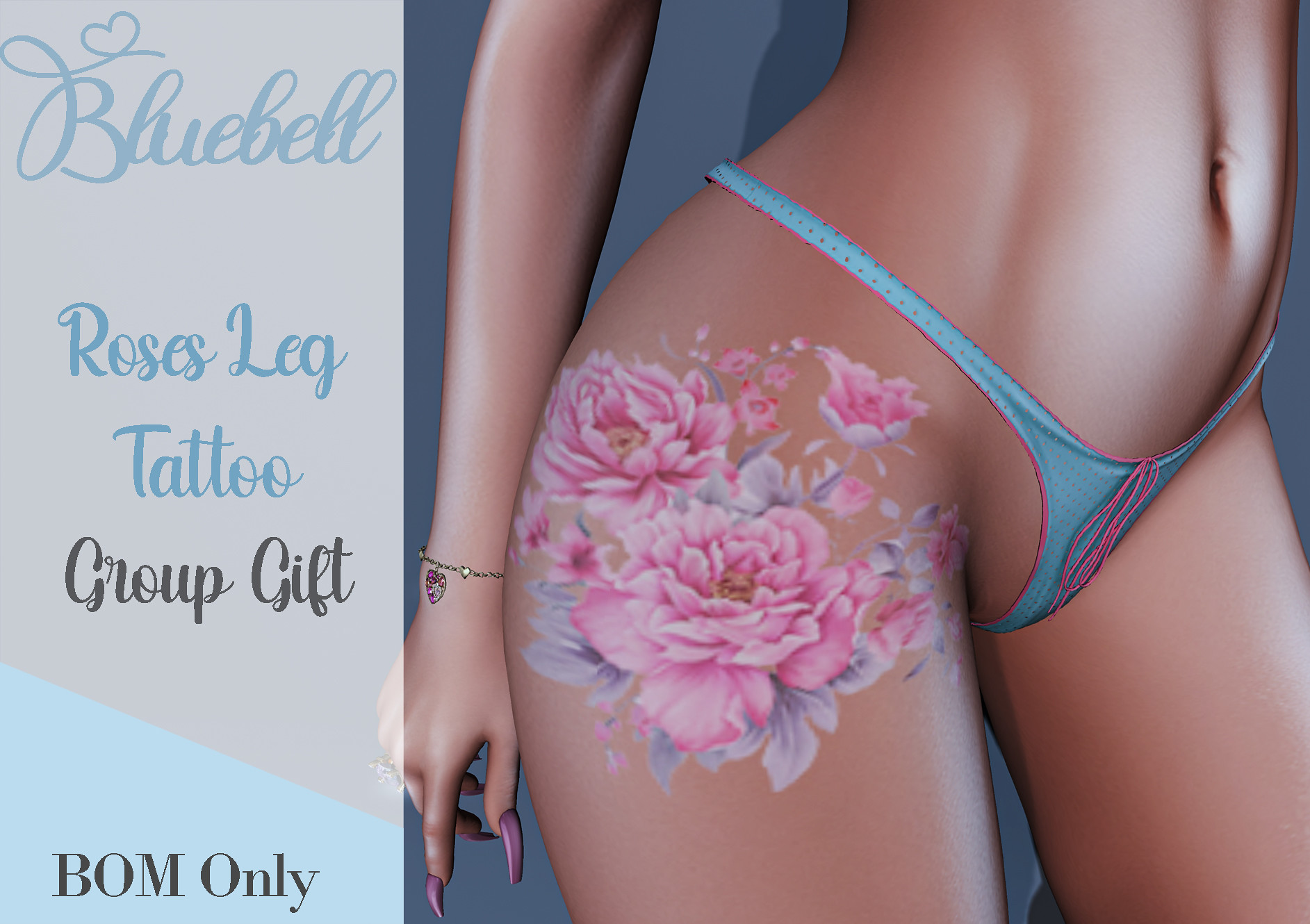 !  BLUEBELL- Roses Leg Tattoo Group Gift