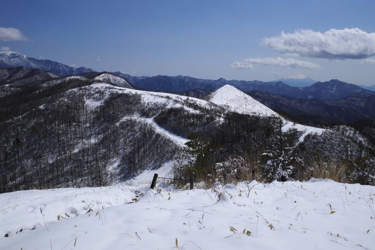 平沢山山頂から眺める飯盛山と富士山