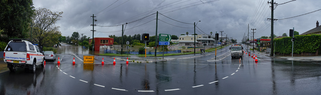 Flooded Road at Windsor, NSW