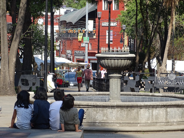 Street Scene with Kids and Fountain - San Angel - Mexico City - Mexico