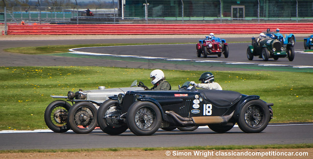 Ruediger Friedrichs Alvis Firefly (18) 1st goes round Dougal Cawley GN:Ford Piglet 2nd Silverstone Trophy 2017