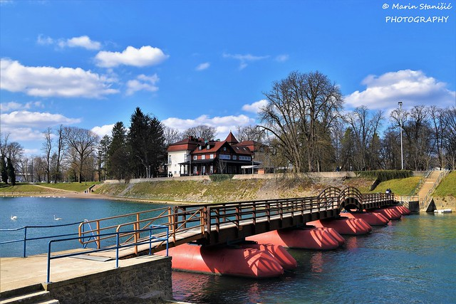 Pontoon bridge over river Korana - Karlovac, Croatia