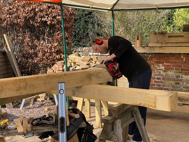 Ben cutting the principal rafter tenons