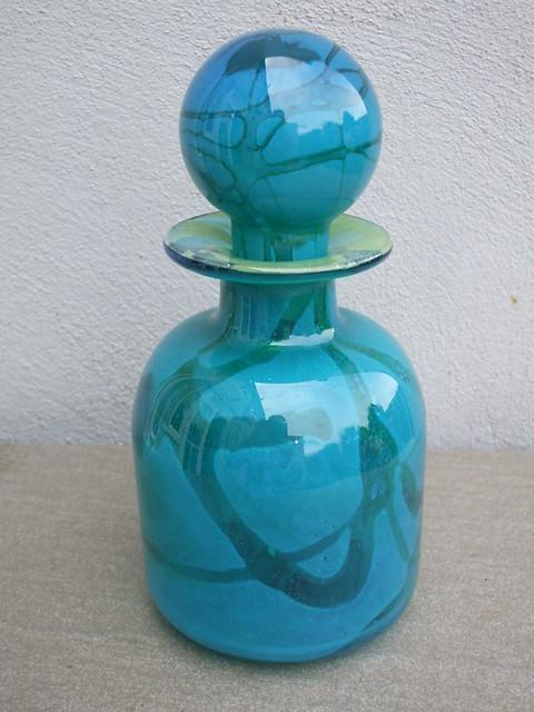 Vintage Turquoise Blue  Mdina Art Glass Decanter Made in Malta 1970's Mid Century Modern
