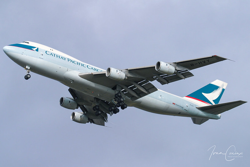Boeing 747-236F/SCD – Cathay Pacific Airways Cargo – B-HVY – Brussels Airport (BRU EBBR) – 2004 01 25 – Landing RWY 25R – 01 – Copyright © 2004 Ivan Coninx