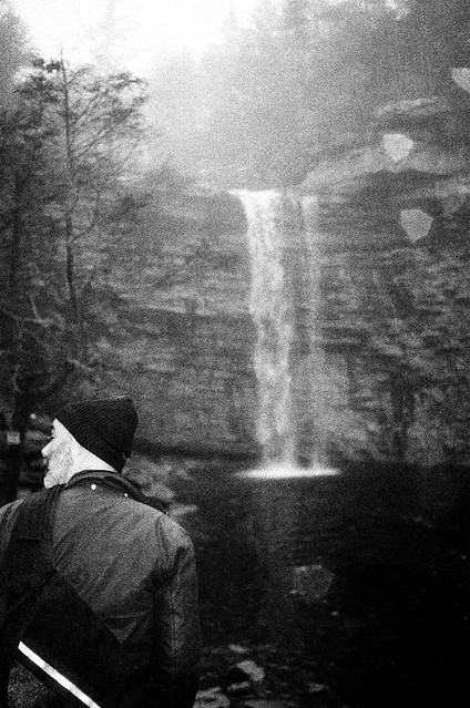 Jeremy in front of a waterfall, near New Paltz on 35mm
