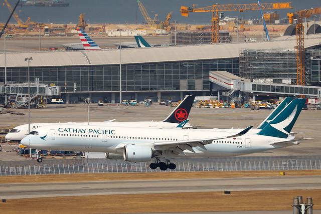 Cathay Pacific Airways A350-900 B-LRR landing HKG/VHHH