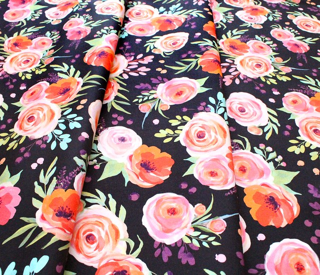 Michael Miller Fabrics Breakfast in Bed DDC9595-BLAC Winter Bouquet Black
