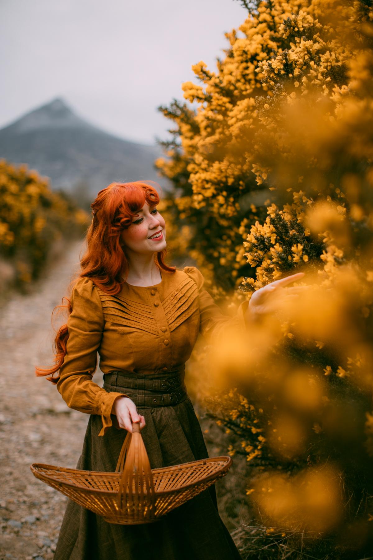 gorse flowers, cottagecore, cottagecore dress, mourne mountains, blouse, ireland, Revintaria, leaf embroidery