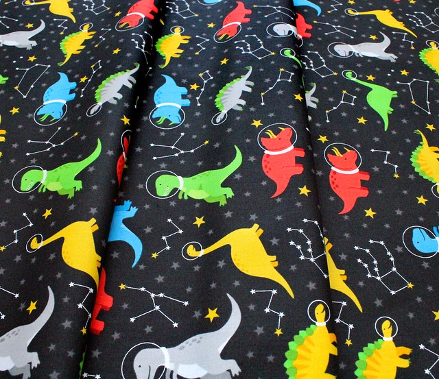 Robert Kaufman Fabrics Dino-Soar AHE-19731-348 Space Dinosaurs Black
